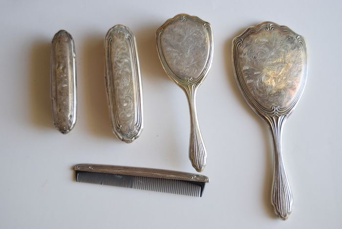 Dressing table set (5) - .800 silver - Italy - First half 20th century