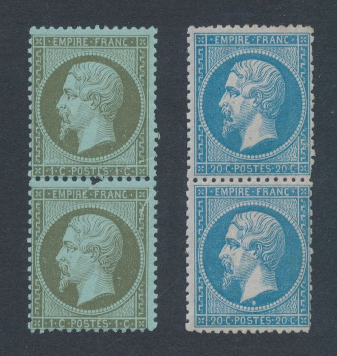 France 1862 - 1 & 20 centimes in MNH vertical pairs - Yvert # 19 + 22