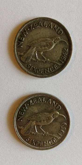 New Zealand - Six pence 1939 & 1942 - Silver