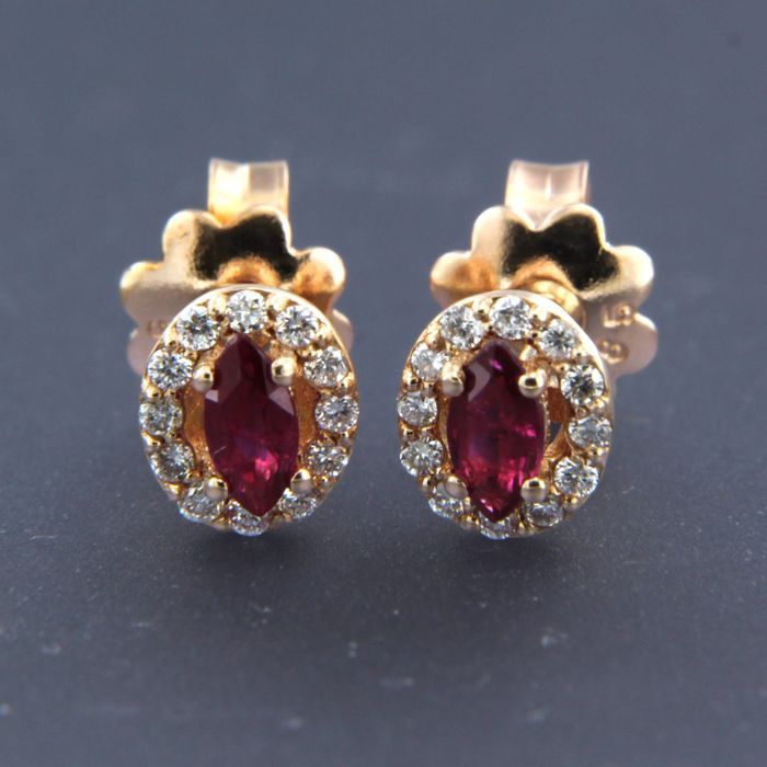 14 kt rose gold - Earrings - 0.40 ct Ruby - Diamond