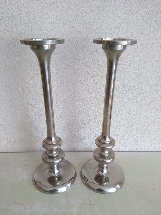 Two beautiful high identical candlesticks - Silver plated