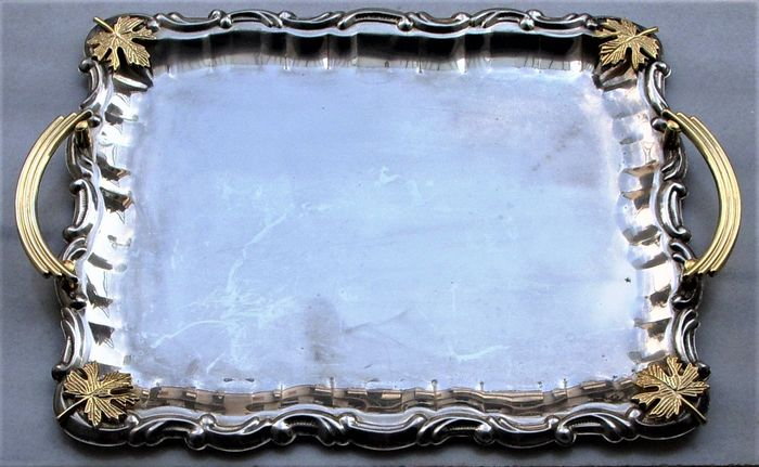Vintage Very Large Rectangular Serving Tray with Gold Plated Decoration - Silverplate, Goldplate