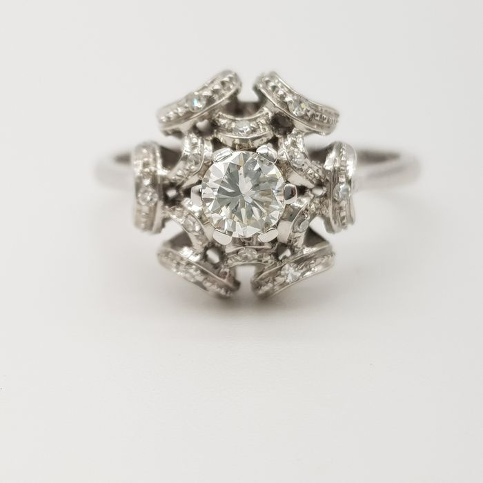 HRD no reserve price - 18 quilates Oro blanco - Anillo - 0.40 ct Diamante - Diamante