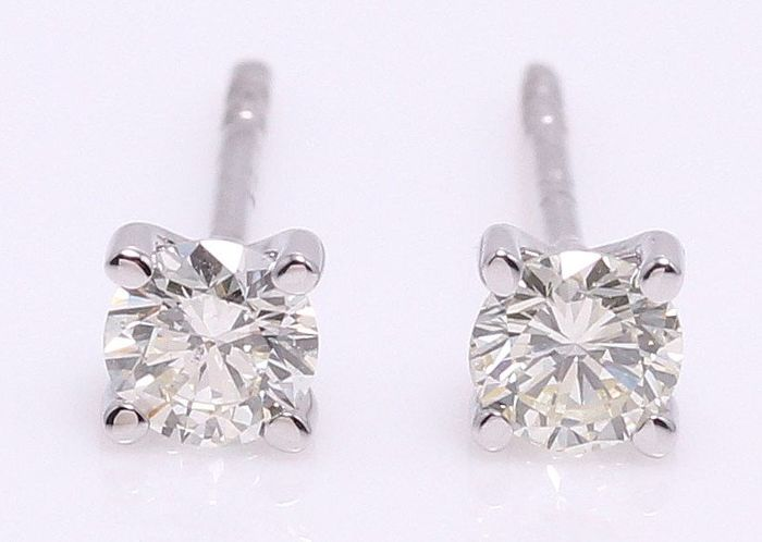 14 kt. White gold - Earrings - 0.40 ct Diamond