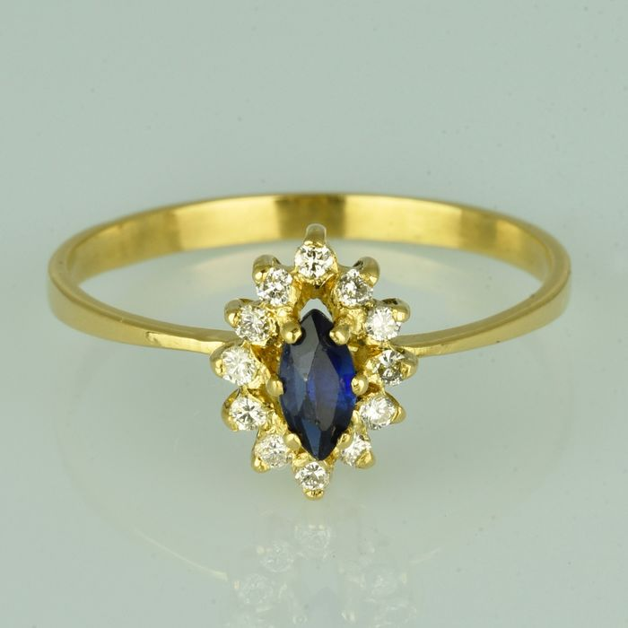 18 quilates Oro amarillo - Anillo - 0.35 ct Zafiro - Diamantes