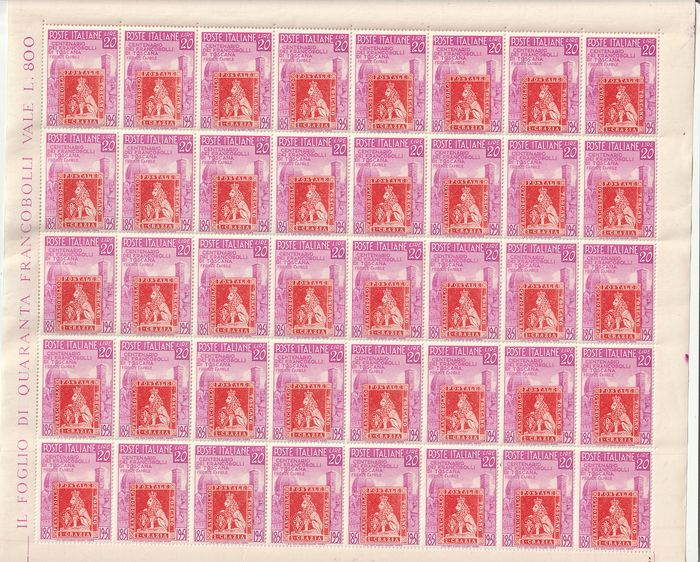Italien Republik 1951 - Centenary of Tuscan stamps, complete set in uncut sheets of 40 pieces - Sassone N. S.145