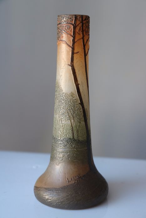 François Théodore Legras (1839-1916)  - Art deco vase cleared with acid