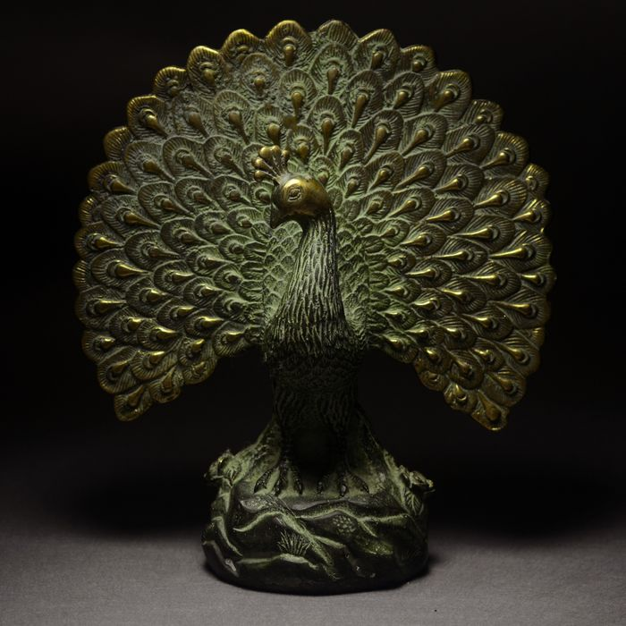 Peacock sculpture - Bronze - China - Late 20th century