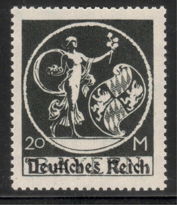"Empire allemand 1920 - 20M with ""apostrophe before the D"" in the overprint, current photo expert finding - Michel 138 PF V"
