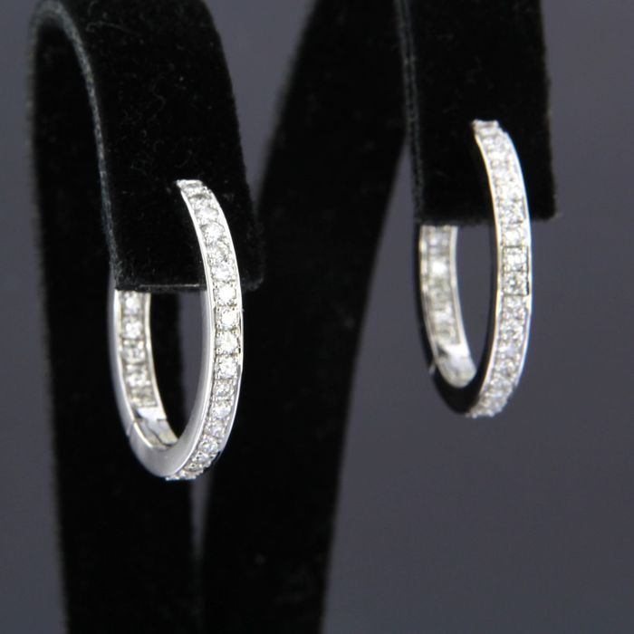 18 kt. White gold - Earrings - 0.50 ct Diamond