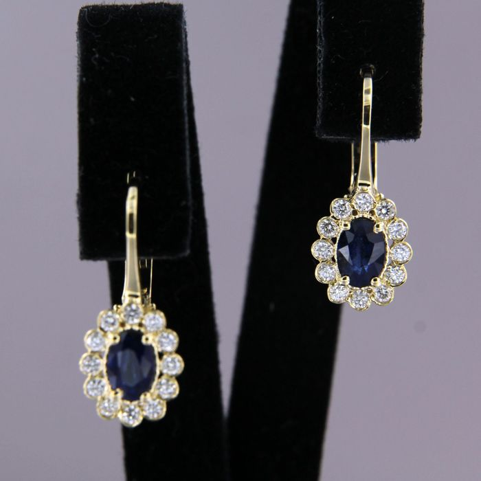 18 quilates Oro amarillo - Pendientes - 1.10 ct Zafiro - Diamante