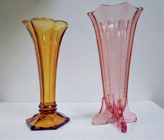 Val St Lambert - Rosaline Montesquieu vase and American vase Luxval (2) - Glass