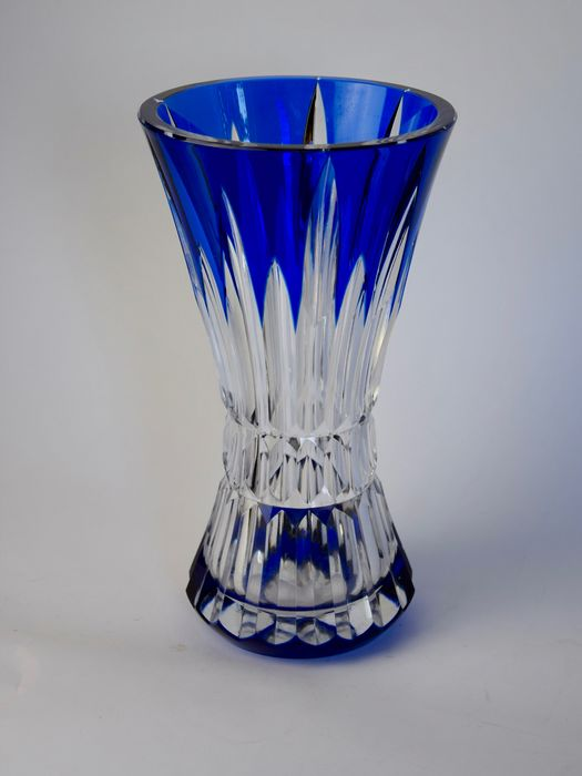 Val Saint Lambert - large blue and white cut vase - Crystal