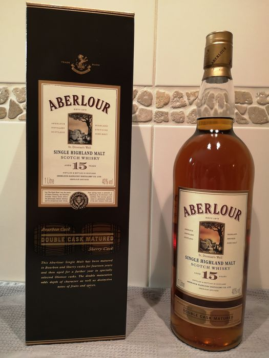Aberlour 15 years old Double Cask Matured - Original bottling - b. appr. 2000 - 1,0 l