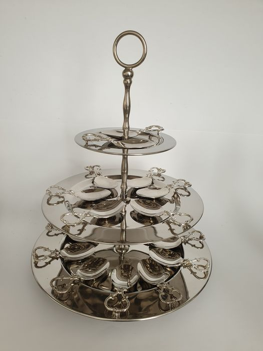 Amuse tower with 18 amuse spoons - Silverplate