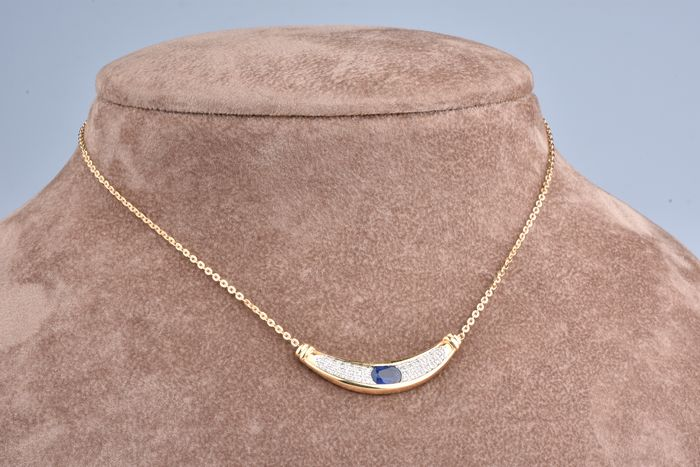 18 kt. Yellow gold - Necklace - 1.00 ct Sapphire - Diamond