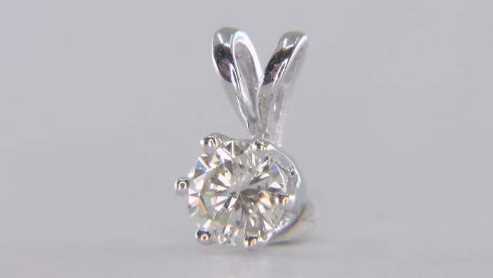 No Reserve Price - VS1 - 14 kt. White gold - Pendant - Clarity enhanced 0.30 ct Diamond