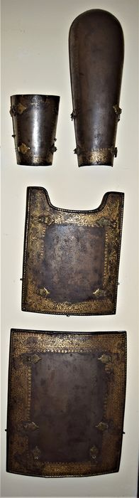 Medieval gold inlayed Persian Char Aina suit of armour 17e/18e eeuw (4) - Ingelegd metaal - Perzie - 18e eeuw