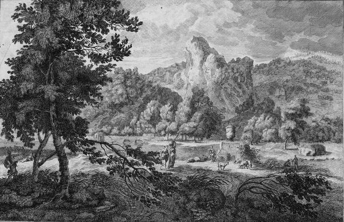 Adolf van der Laan, Johannes Glauber - Large Arcadian landscape with shepherds and a woman with a laundry basket