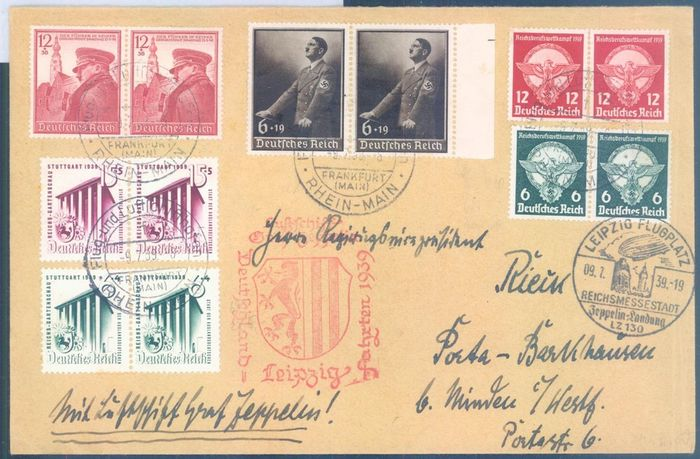 "Empire allemand 1939 - Airship ""Graf Zeppelin II"" - flight to Leipzig - high-value franking - Sieger 457"