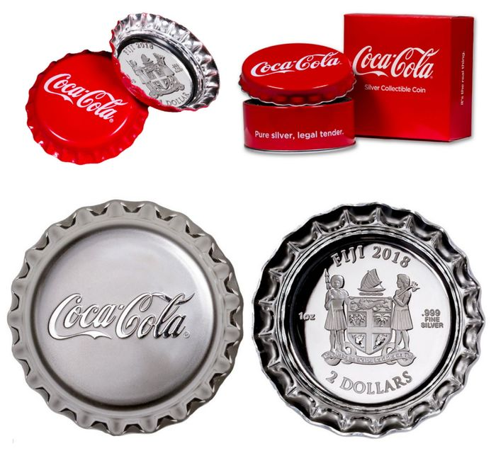 Fiji - 1+2 Dollar 2018 Coca Cola silver coins in crown cap shape colour with box - 2 pieces - silver