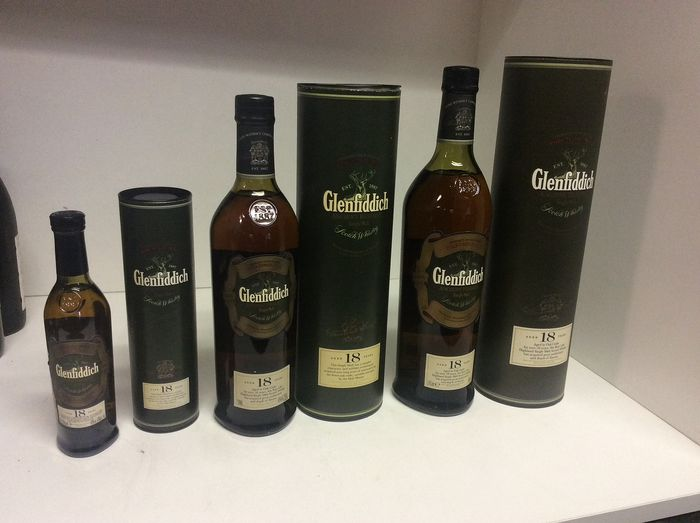 Glenfiddich 18 years old Ancient Reserve - b. 2000s to today - 20cl, 75cl en 1 liter - 3 瓶
