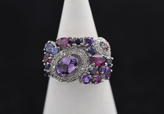 Matty - 18 carats Or blanc - Bague - 0.85 ct Améthyste - Améthystes, Diamants, Topazes