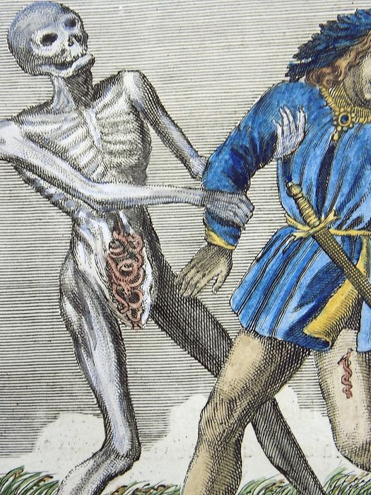 Jacques-Antony Chovin (1720-1776); After Merian - Hand coloured copper engraving - Memento Mori - Dance of Death - The Queen - c1760