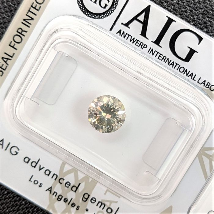 Diamant - 0.93 ct - Brillant - Léger gris vert - SI2, No Reserve Price