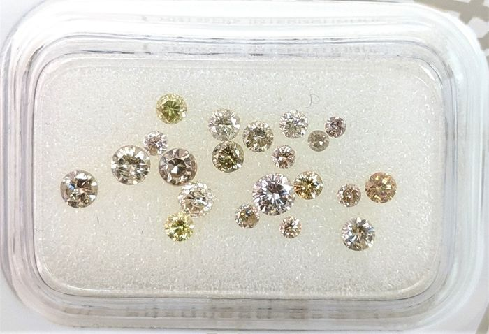 21 pcs Diamants - 0.72 ct - Brillant - Fancy Mix Color - I1, I2, SI1, SI2, SI3, VS1, VS2, VVS1, VVS2, No Reserve Price