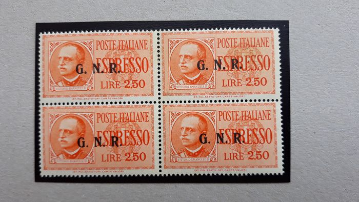 Italië 1943 - Express stamps, 2.50 lire overprinted G.N.R. Brescia 3rd type in block of four, positions 44/50 with - Sassone Sass.20/III
