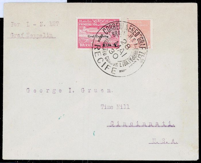 Brazil 1930 - Graf Zeppelin Pan AMerica Flight 1930 - Brazilian Mail to USA with 10000R Zeppelin stamp - Sieger 59E