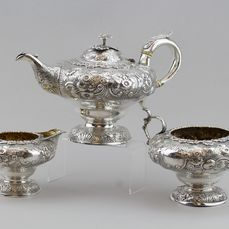 A Fine George IV Driedelig theeservies - Zilver - Possibly Joseph Wilson or John Wakefield, London - Engeland - 1830