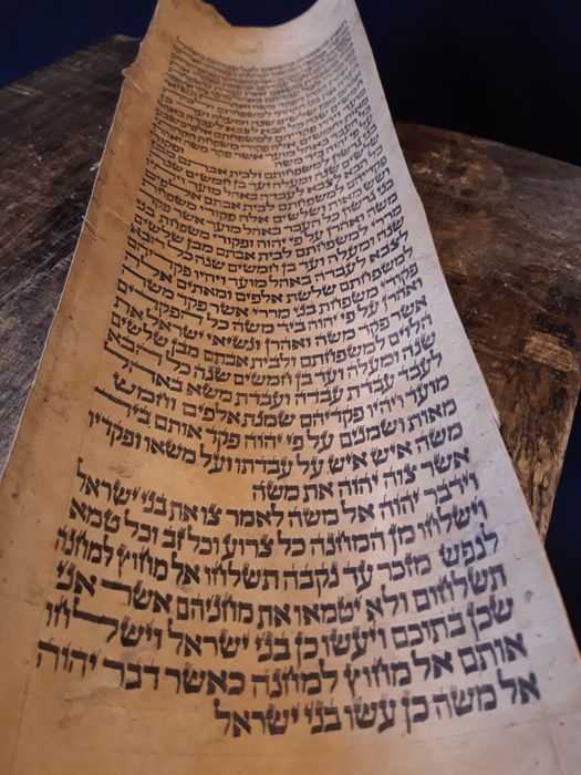 Numbers 5:4 - Torah scroll fragment from Iraq - 18th century