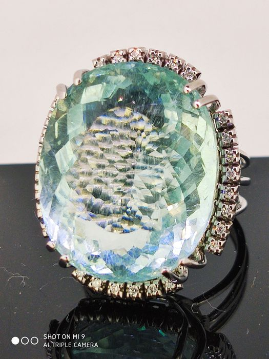 18 carats Or blanc - Bague - 35.25 ct Bleu Aquamarine VVS GIA - Diamant