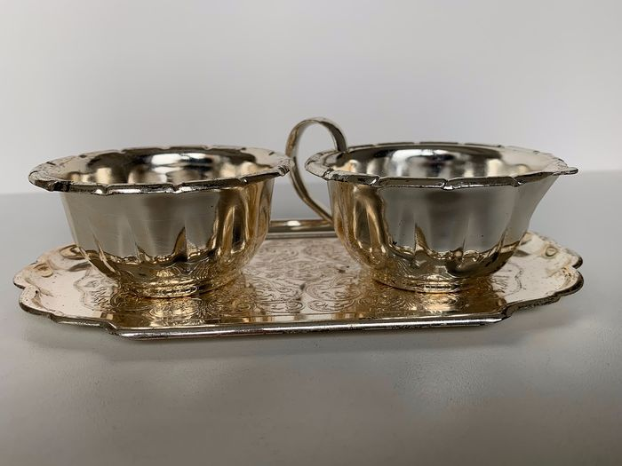 Milk & Sugar - Art Deco - silver plated