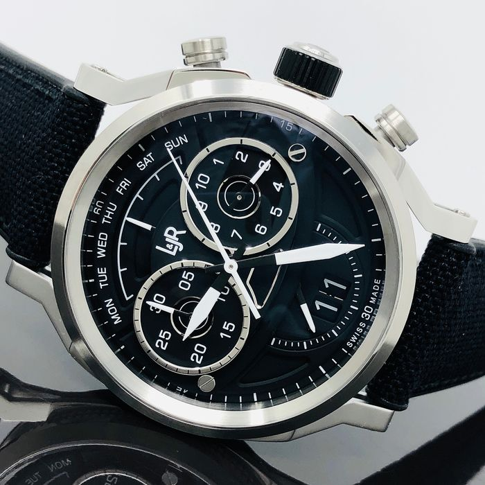 L&JR - Chronograph Day and Date Black Nylon Strap Swiss Made - S1502-S13 - Men - Brand New