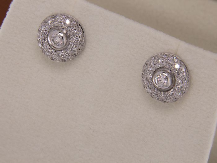 evagold - 18 kt. White gold - Earrings Diamond
