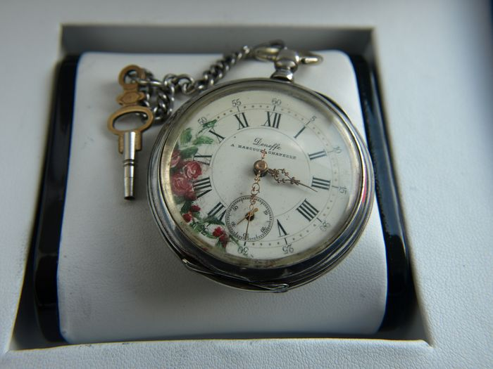 Deneffe  A . Bascoup Chapelle   -  silver pocket watch NO RESERVE PRICE  - 148266 - Heren - 1850-1900
