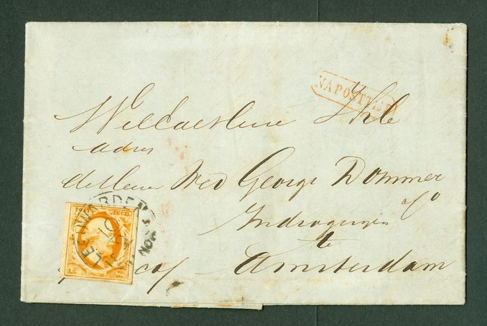 Pays-Bas 1852 - Folding letter from Leeuwarden to Amsterdam - NVPH 3