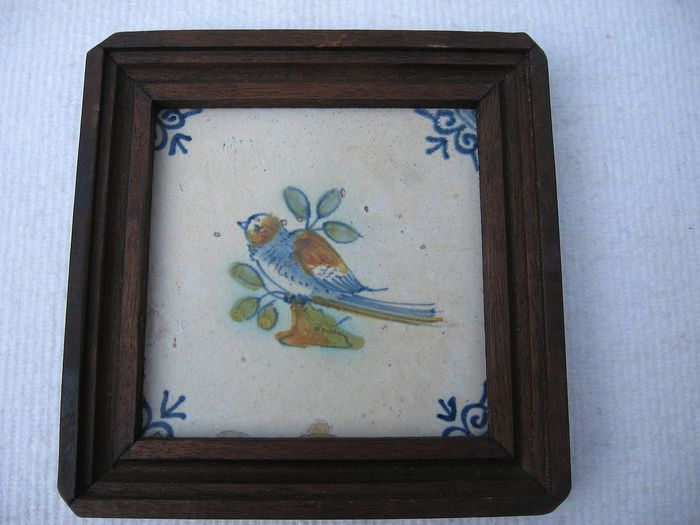 Tile, polychrome bird (Collaert?) (1) - Ceramic