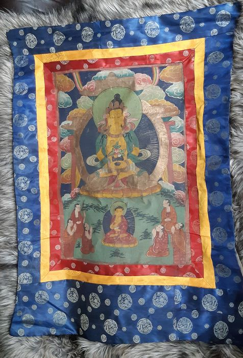Thangka (1) - Gouache, Linen, Silk - Nepal - Second half 20th century