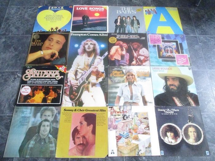 Various Artists/Bands in 1970's - Multiple artists - 15 Great Vinyl Records With; Dr. Hook, Santana, Al Stewart, Babys, Bee Gees e.o. - Multiple titles - 2xLP Album (double album), LP's - 1970/1984