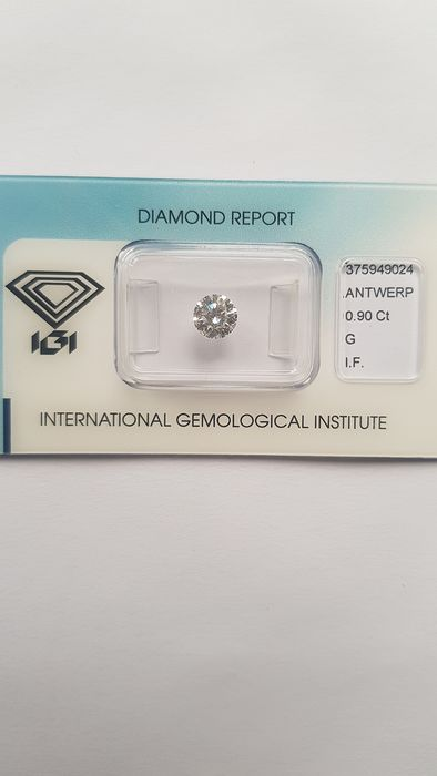 1 pcs Diamant - 0.90 ct - Brillant - G - IF (pas d'inclusions)
