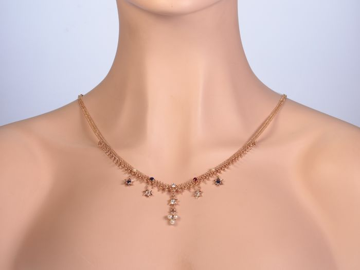 14 kt. Pink gold - Necklace, Antique Bismarck chain with stars -  Diamond - Pearls, Rubys, Sapphires, TDW 0.70ct.!