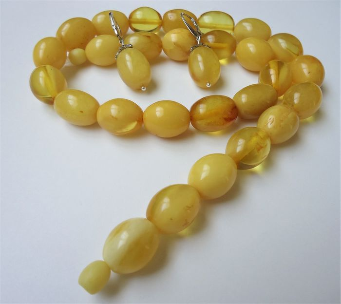 100% natural Baltic amber ( not pressed, not modified) - Necklace, Earrings