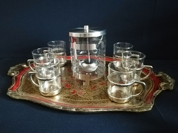 Luxury 8 piece tea set on a Venetian tray - Italia - period around 1970 - glass - stainless steel inox -wood
