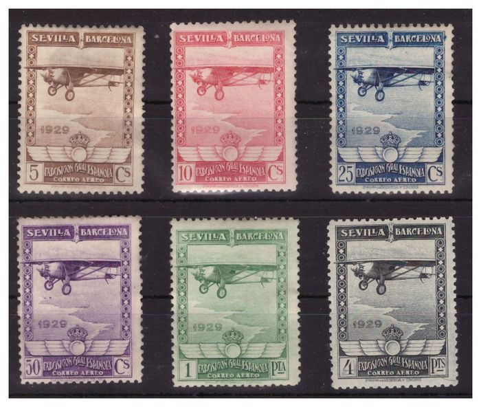 Spanje 1929 - Pro exhibitions in Seville and Barcelona. Airmail - Edifil 448/453