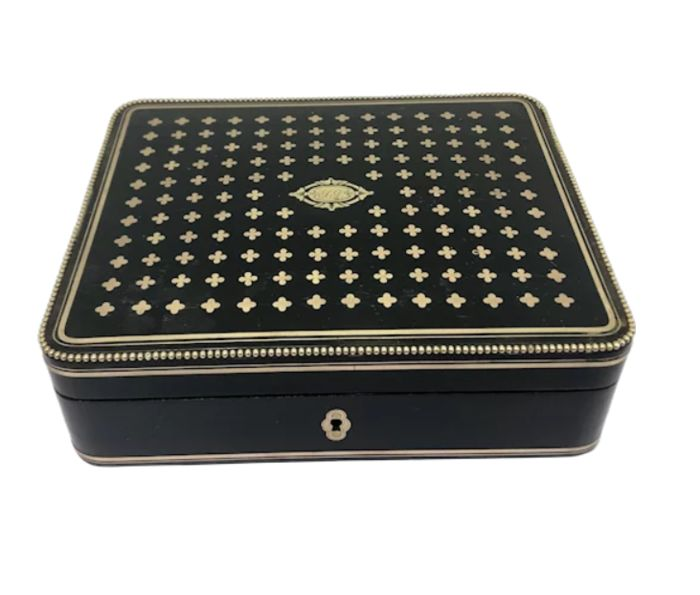 Large Tahan style case paper document box - Napoleon III - Brass, Wood - Approx. 1860