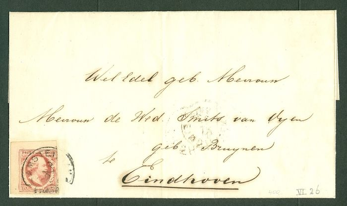 Pays-Bas 1861 - Letter cover from Amsterdam to Eindhoven - NVPH 2